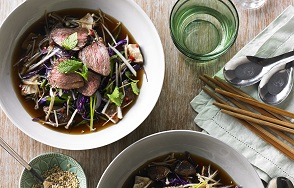 Spiced Aussie beef sirloin medallions, crispy Asian slaw, pickled mushrooms and black broth