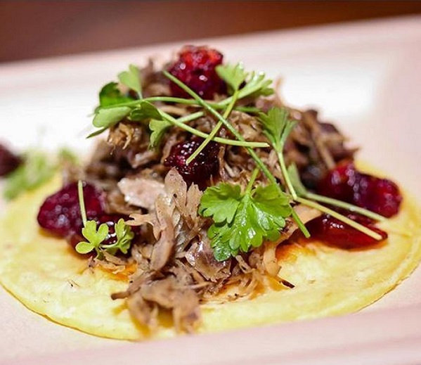 Aussie lamb carnitas tacos with pickled cranberries