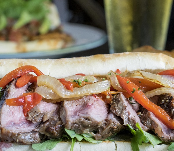 Grilled Lamb Sandwich with Onions, Peppers and Roasted Garlic Aioli