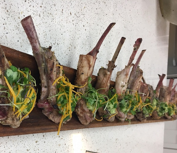 Rosemary orange grilled Aussie lamb chops with apple mint chutney