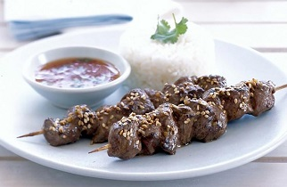 Barbecued Ginger Lamb Satays with Thai Dipping Sauce