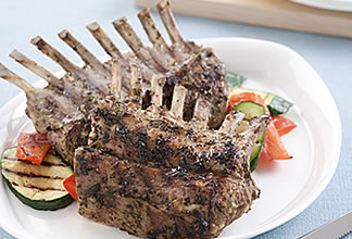 Barbecued Rack of Goat with Herbs and Lemon