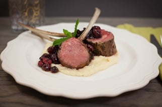 Barbecued rack of lamb with celery root and parsnip purée