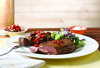 Barbecued Australian Grassfed Sirloin Steak with Semi-Dried Tomato Flavoured Butter