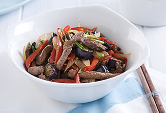 Goat and red pepper stir fry