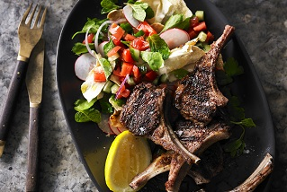 Grilled sumac Aussie lamb cutlets with fattoush