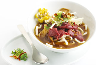 Japanese udon lamb with soy and mushroom broth