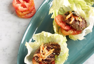 Korean Aussie beef lettuce cups with kimchi