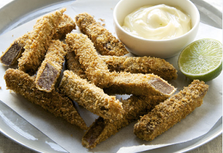 Panko-crusted beef scrumpets with tangy lime mayonnaise