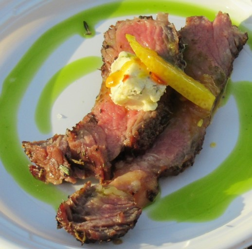Herb de Provence Crusted Australian Grass-fed Ribeye with Boursin, Pickled Lemon and Arugula Oil