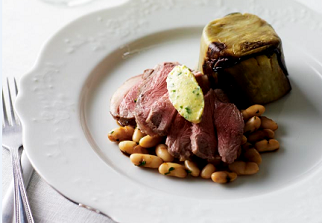 Roast lamb sirloin with flageolet beans and eggplant chartreuse
