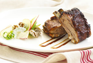 Sticky barbecue ribs with waldorf salad