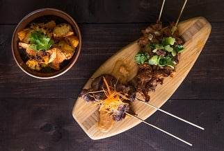 Sweet and spicy lamb skewers