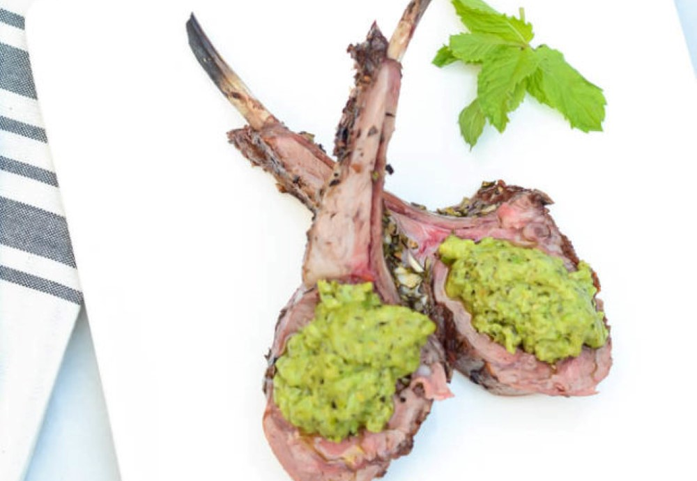 Herb crusted rack of Aussie lamb with mint pea pesto