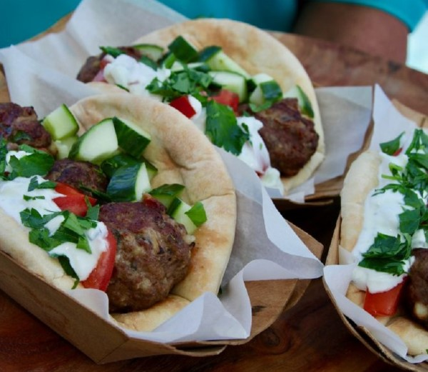 Grilled lamb gyro wraps with Greek tzatziki sauce