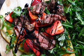 Aussie lamb strawberry arugula pizza