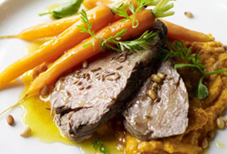 28 hour lamb shoulder with cumin honey and baby carrots