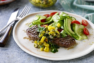 Aussie beef sirloin with almond mojo sauce