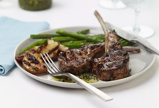 Grilled Aussie lamb chops with mint-pistachio pesto
