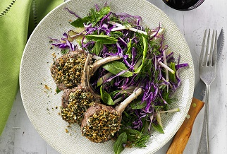 Herb crusted Aussie lamb cutlets with red cabbage & green apple slaw