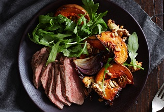 Aussie sirloin steak with baked pumpkin and feta