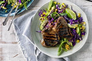Thai glazed Aussie lamb loin chops with sweet corn slaw