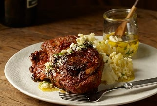 Zesty lemon and roasted garlic leg of lamb steak