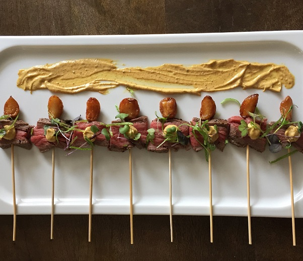 Beef Tenderloin Grill Stick with Roasted Garlic and Curry Mayo