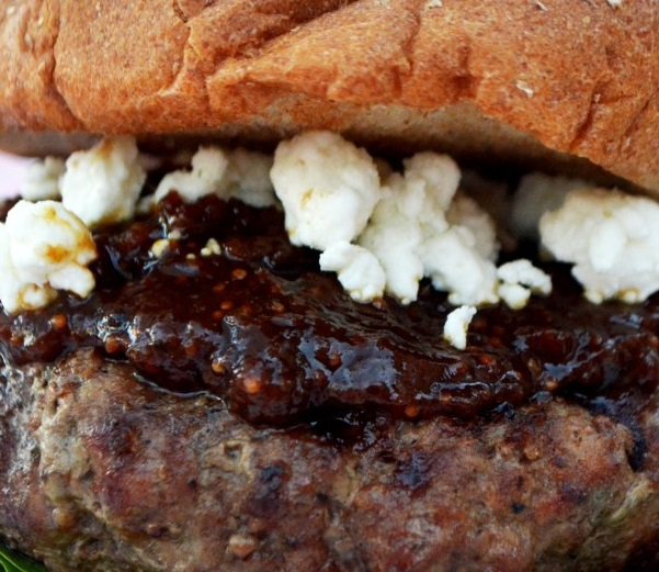 Goat Cheese Stuffed Aussie Grassfed Burgers with Fig Jam and Fresh Spinach