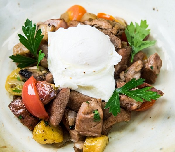 Aussie Lamb Hash with Poached Eggs