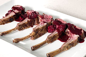 Grilled Aussie Spring Lamb chops with blackberries in a red wine sauce