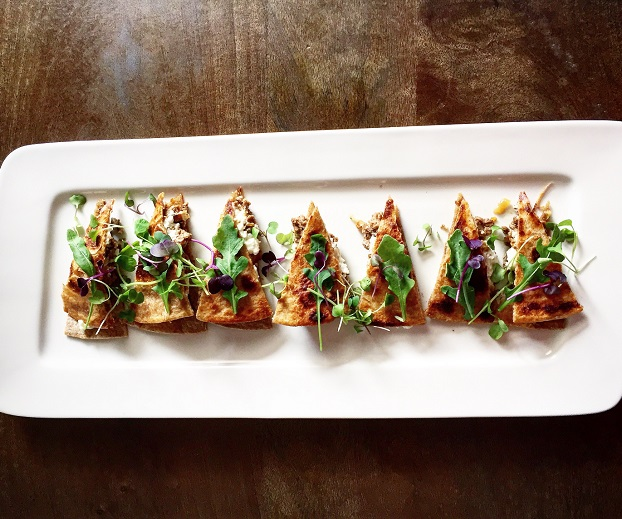 Spicy Lamb and Feta Flatbread with Grilled Lemon and Arugula