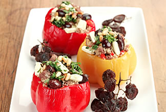 Peppers Stuffed With Lamb, Feta, Couscous and Black Olives