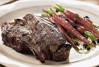 Caramelized Australian Lamb Shoulder Chops with Grilled Rosemary Carrots