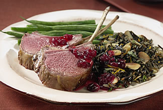 Cranberry-Marinated Rack of Australian Lamb with Almond Wild Rice