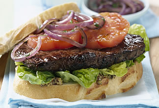 Grilled Australian Beef Steak and Tomato Sandwich with Balsamic Onions