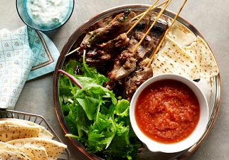 Lamb Kebabs with Lebanese Crackers and Tomato Sauce
