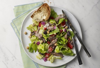 Mediterranean chopped salad with lamb