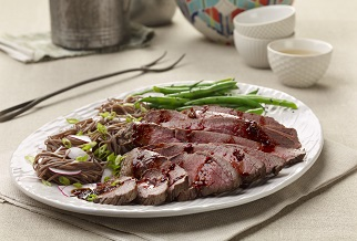 Soy-marinated grilled grassfed tri-tip