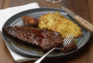 Spice- and herb-crusted grilled Wagyu steak