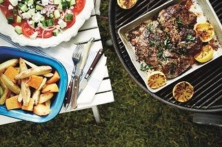 Greek-style butterflied Aussie leg of lamb with roasted vegetables and grilled lemon
