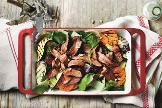 Grilled Aussie beef sirloin steak, zucchini, sweet potato and arugula salad