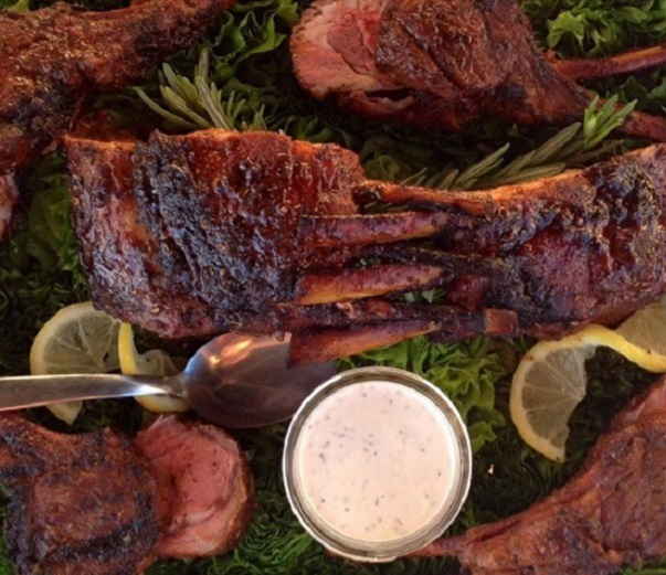 Coffee rubbed Aussie lamb chops with Alabama white bbq sauce