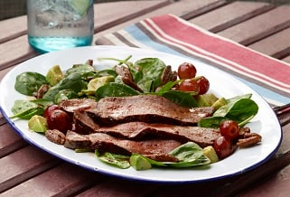 Ancho–brown sugar grassfed strip steak salad