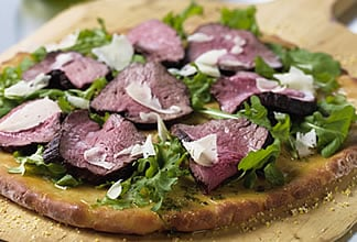 Australian Beef Arugula and Parmesan Pizza with Mint Oil