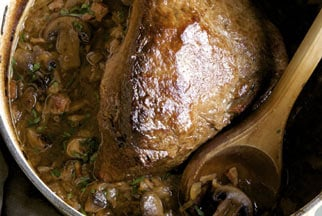 Beer Braised Pot Roast with Mushrooms