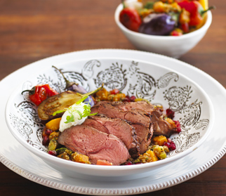Chermoula marinated lamb top sirloin with vegetable tagine
