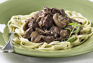 Chianti-Braised Australian Beef and Wild Mushrooms on Fettuccini