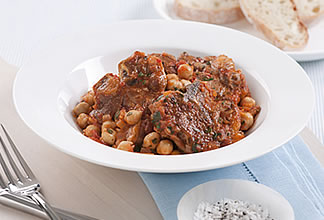 Goat Chops with Tomato and Chick Peas