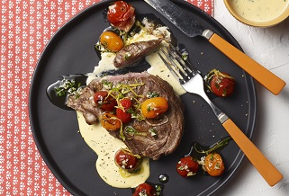 Grilled Aussie lamb shoulder chops with blistered cherry tomatoes and bearnaise